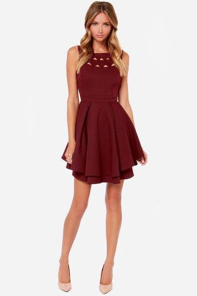 burgundy cutout ruffle cocktail dress