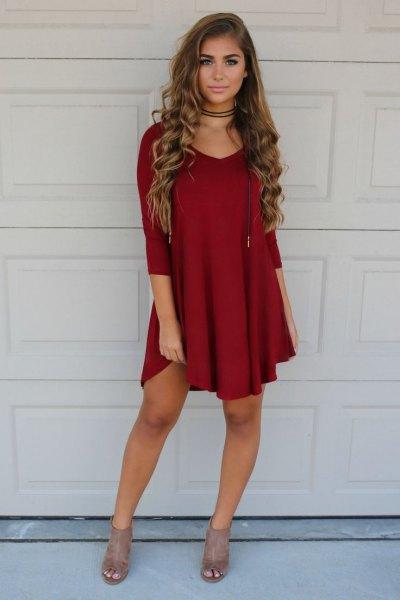 burgundy shift dress red choker