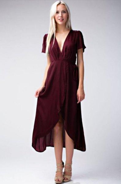 burgundy deep v-neck gathered waist high low midi dress