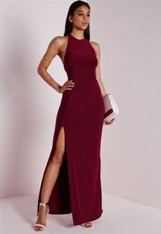 burgundy high split maxi cocktail dress