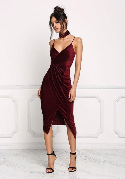 burgundy velvet high low wrap cocktail dress