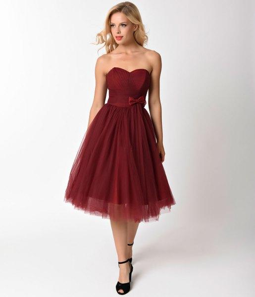 strapless sweetheart neckline pleated chiffon dress