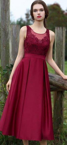 burgundy gathered waist lace and silk dress