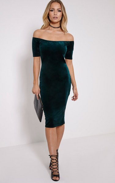 green from shoulder velvet midi dress