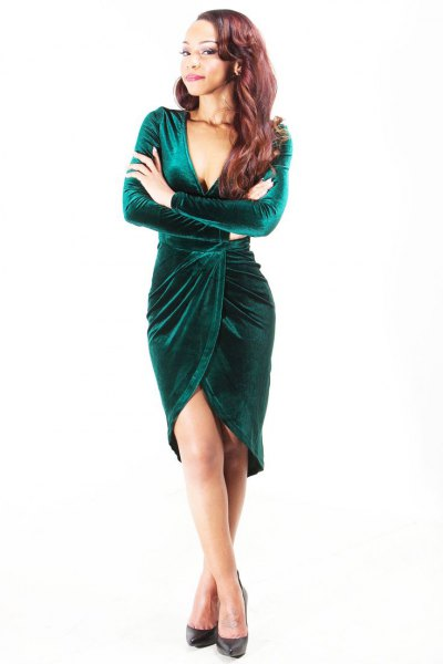 green velvet knee length dress
