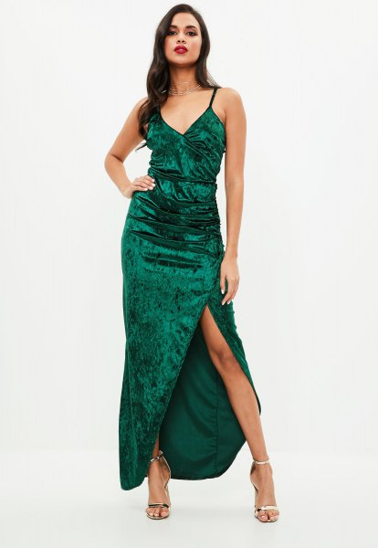 green maxi dress with high velvet