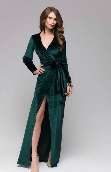 high split split floor length dress