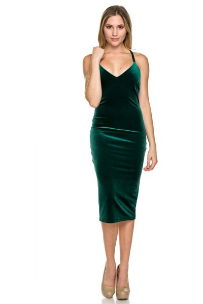 green midi velvet dress