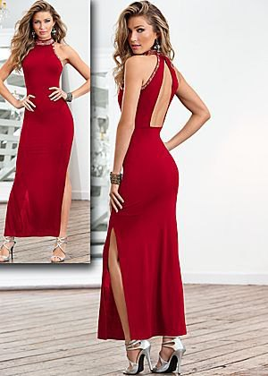 red satin backless maxi dress silver striped heels