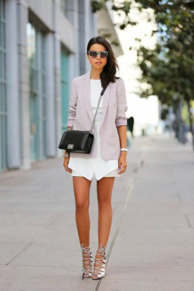 white mini dress gray blazer silver band heels