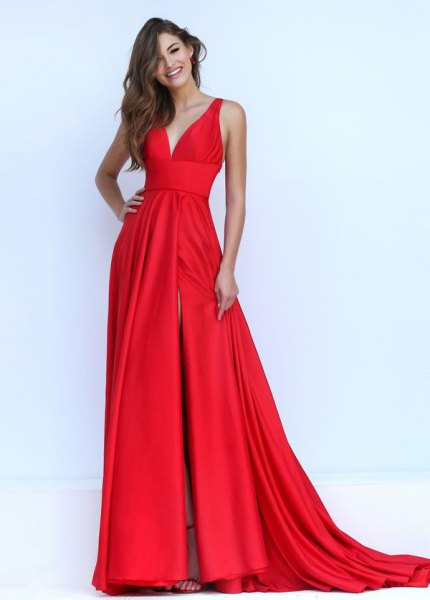 red satin long flowing dress