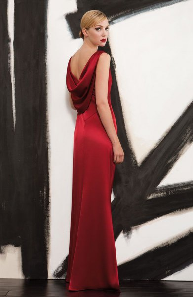 red satin low back maxi dress