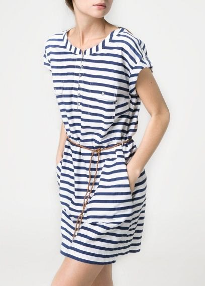 navy and white striped chemical dress with belt