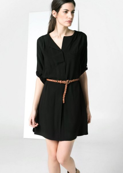 black belt chemise mini dress