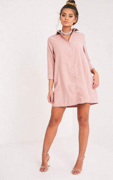 light pink shirt dress silver heels