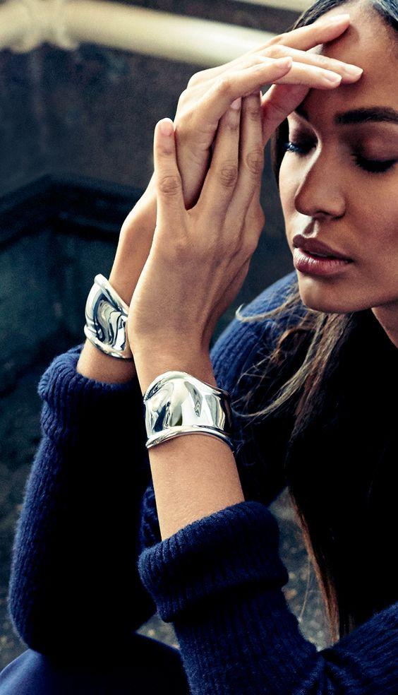 silver cuff bracelet asymmetrically