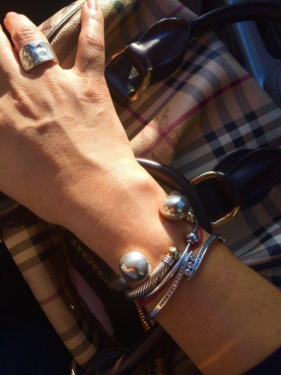 silver cuff bracelet balls