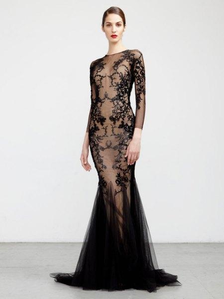 black lace semi pure mermaid dress