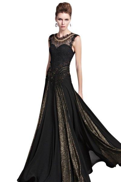 black sequin floor length dress