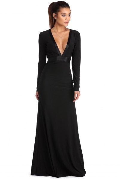 long sleeve deep v-neck a line dress