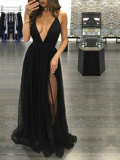 deep v-neck height split chiffon dress