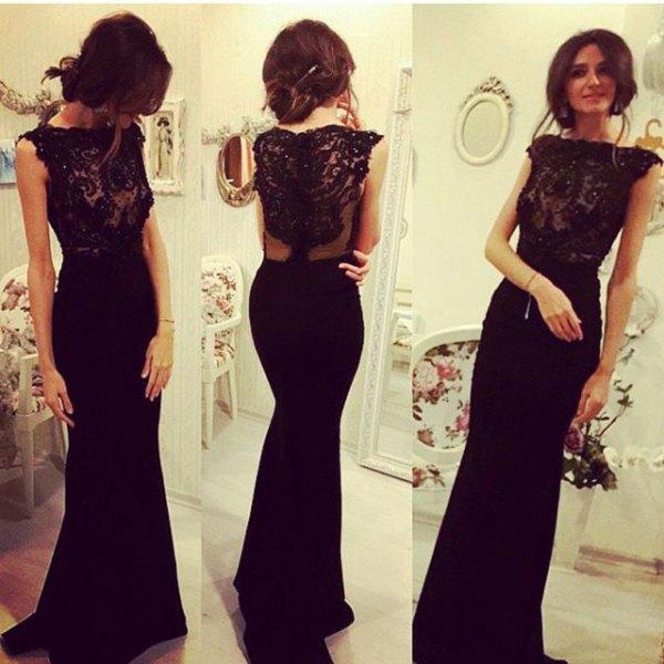 black lace bodycon mermaid floor length dress