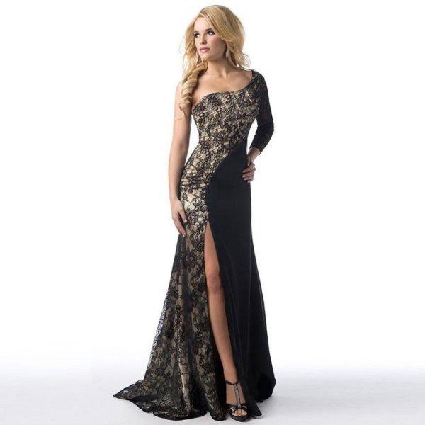 black two toned asymmetrical floor length dress