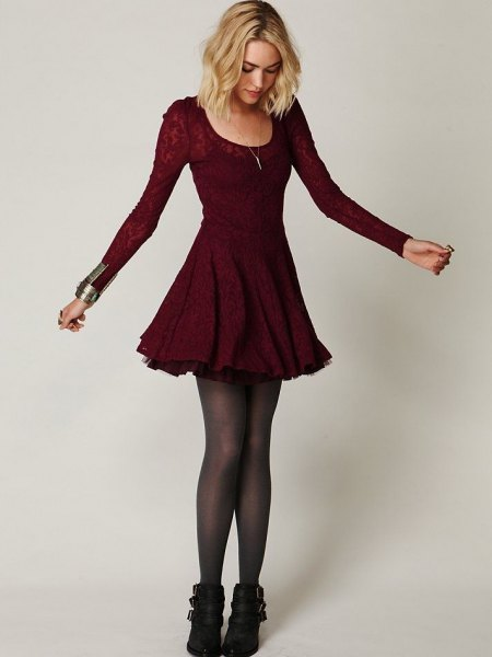 burgundy floral lace skate dress ankle boots