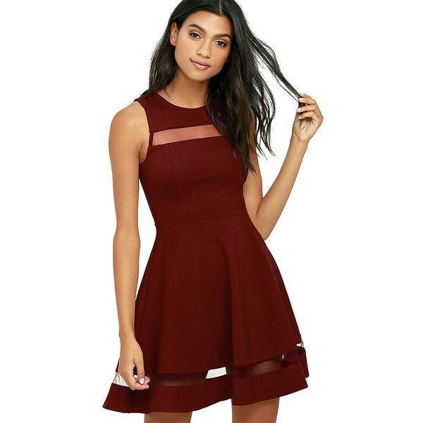 burgundy cutout skater dress