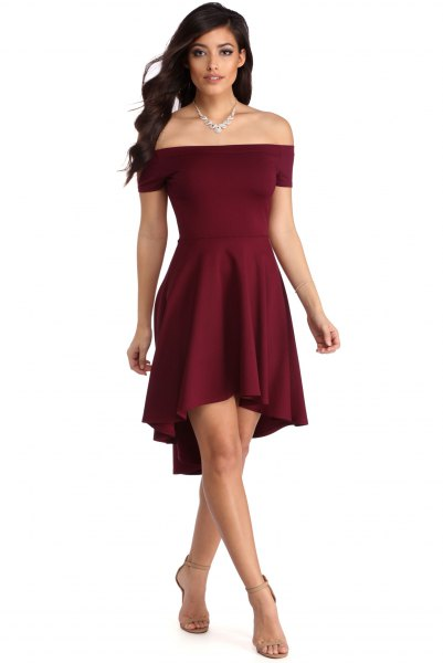 off the shoulder burgundy fit and flare mini dress