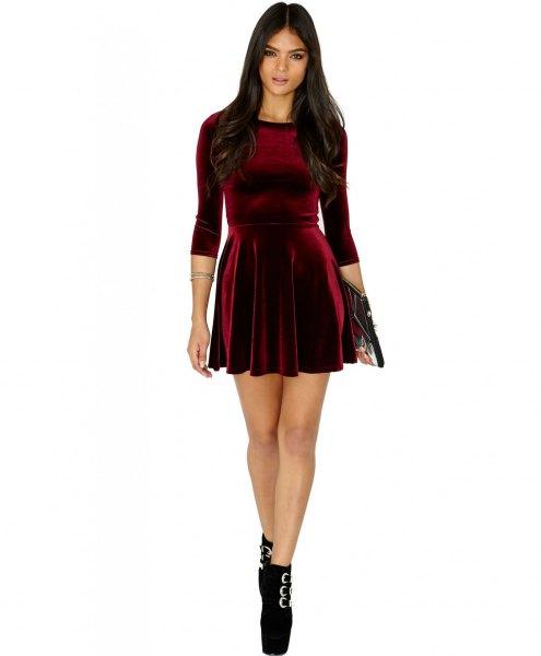 burgundy three-quarter sleeved mini dress