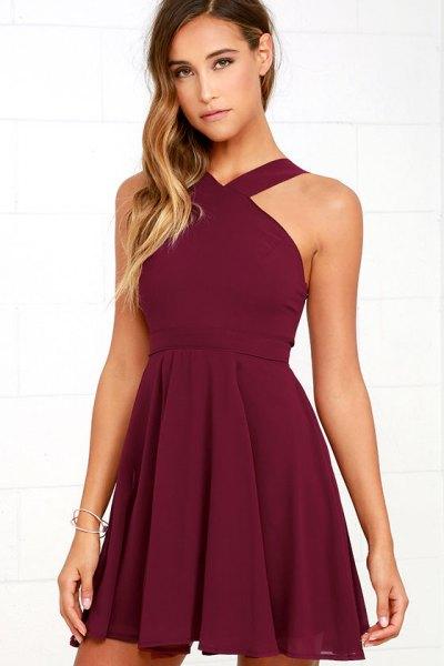 burgundy halter fit and flare dress
