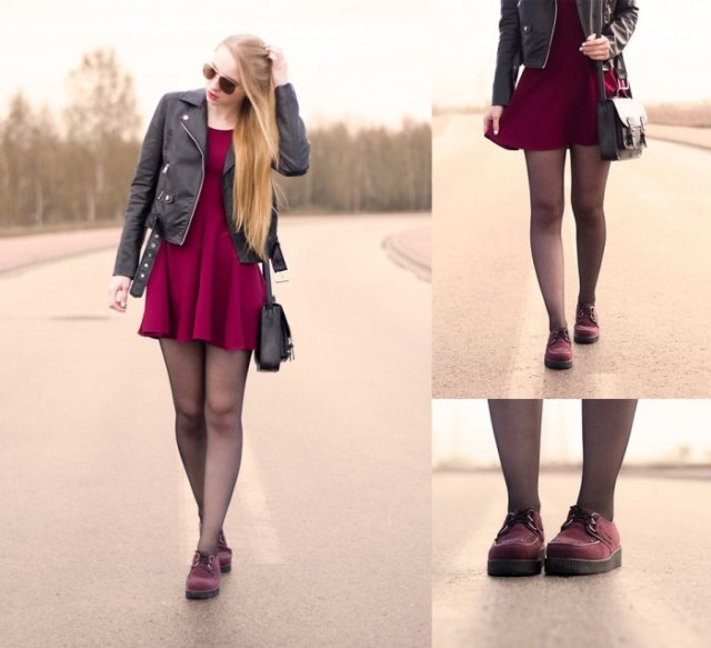 burgundy dress black leather jacket