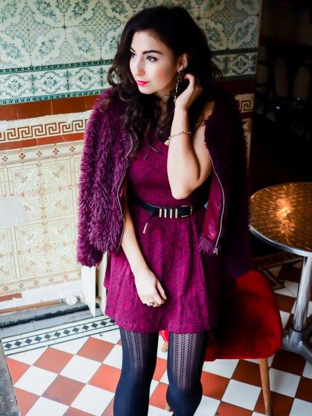 burgundy belt lace dress black faux fur jacket