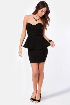 black strapless sweetheart neckline bodycon dress