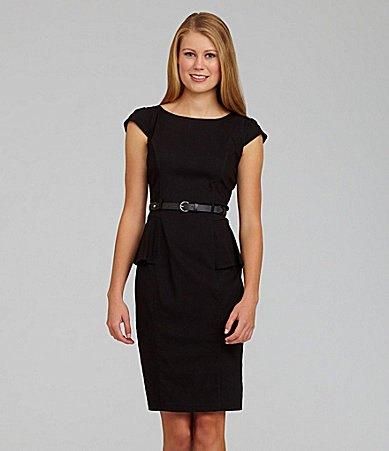 black belt peplum pencil dress