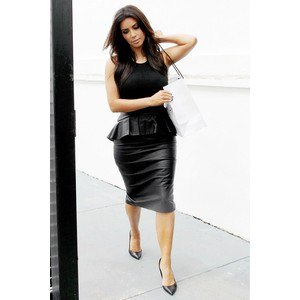 black leather peplum midi bodycon dress