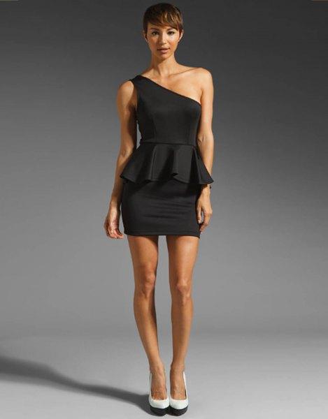a shoulder peplum mini dress