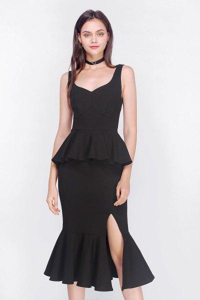 black peplum fishtail midi dress