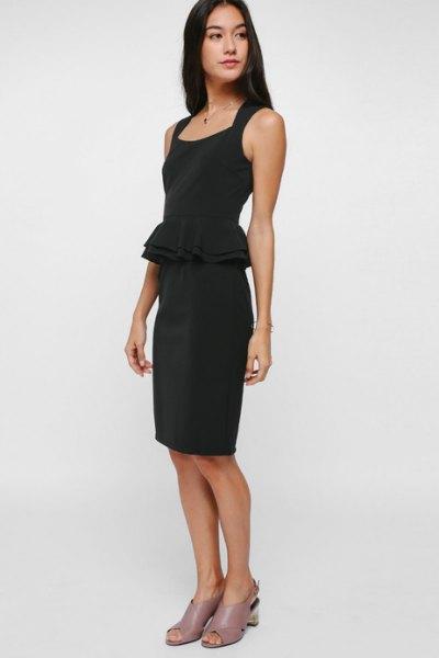 black knee length dress pink heels with open toe
