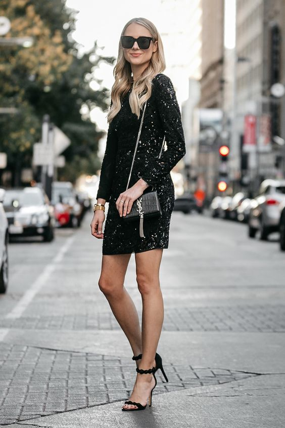 black glittering dress every day