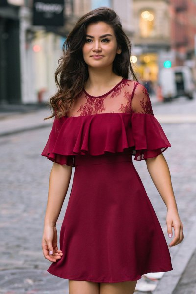 burgundy ruffle lace mini dress