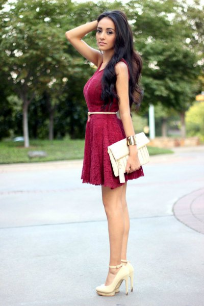 burgundy belt lace skating dress
