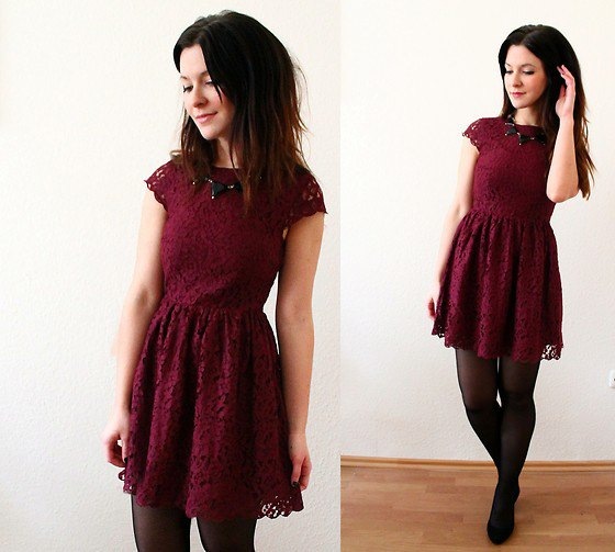 burgundy lace flare mini dress socks ballet flats