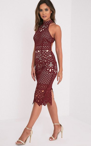 halter neck burgundy crochet lace dress