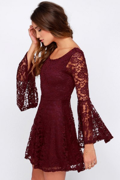 bell sleeve burgundy lace dress