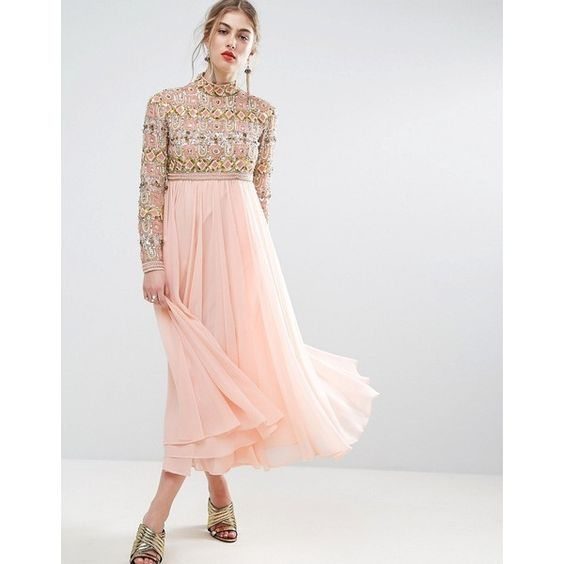 pink gold dress empire neckline