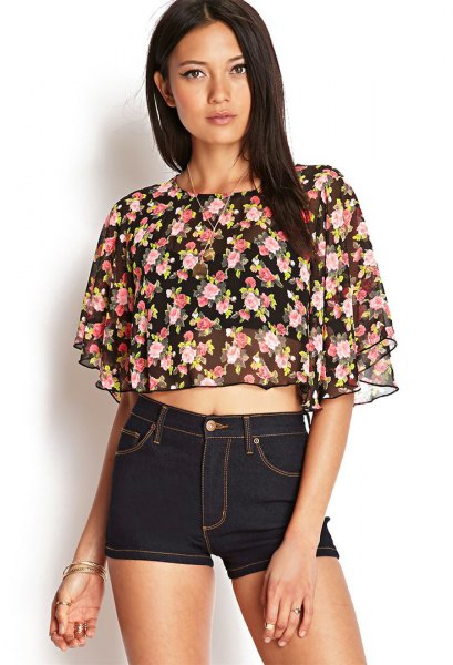 black chiffon floral fluttering sleeve crop top denim shorts