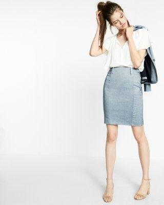 white top high waist light blue pencil skirt