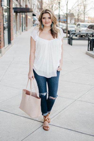 white ruffle top cuff skinny jeans